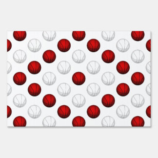 Red and White Basketball Pattern Lawn Sign