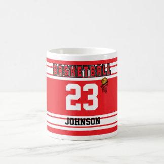 Red and White Basketball Sport Jersey Coffee Mug
