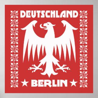 Red and White Berlin Deutschland German Eagle Poster