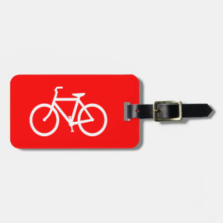 Red and White Bike Luggage Tag