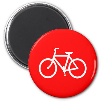 Red and White Bike Magnet