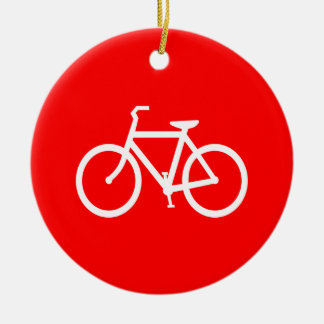 Red and White Bike Double-Sided Ceramic Round Christmas Ornament