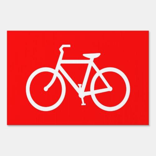 Red and White Bike Yard Sign