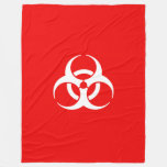 Red and White Biohazard Symbol Fleece Blanket