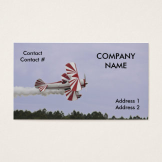 red and white biplane business card