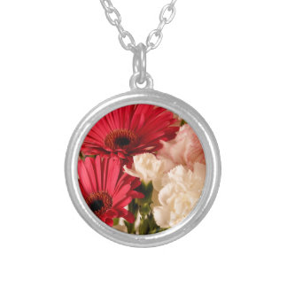 """Red and White Bouquet"" collection Silver Plated Necklace"