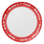 Red and white Breakfast Lunch Dinner text plate