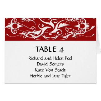 Red and white brocade wedding seating chart card