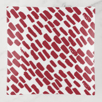 Red and White Brush Strokes Holiday Trinket Trays