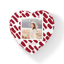 Red and White Brush Strokes Photo with Name Heart Paperweight