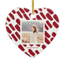 Red and White Brush Strokes with Photo and Name Ceramic Ornament