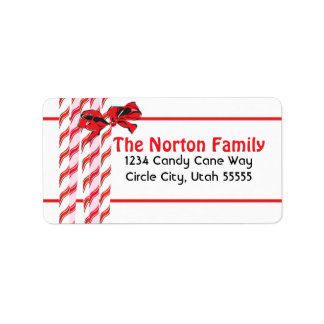 Red and White Bubbles Address Label
