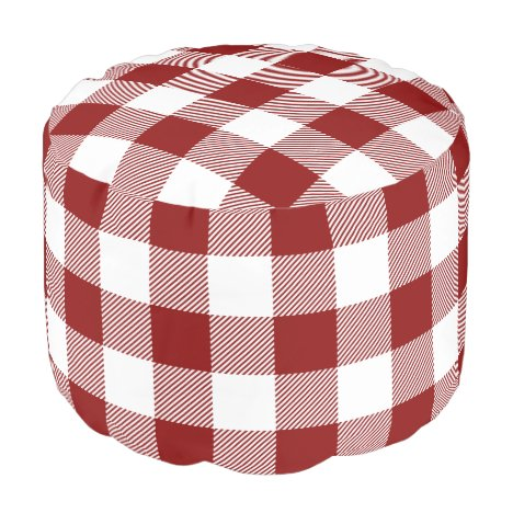 Red and White Buffalo Check | Editable Colors Pouf