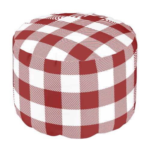 Red and White Buffalo Check   Editable Colors Pouf