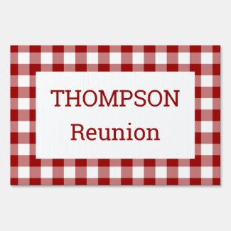 Red and White Buffalo Check Reunion Party Lawn Sign