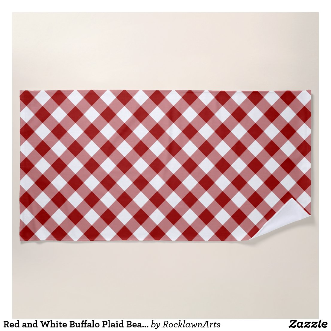 Red and White Buffalo Plaid Beach Towel