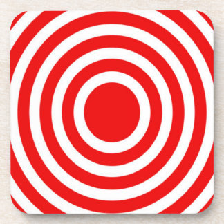 Red and White Bulls-Eye Coaster