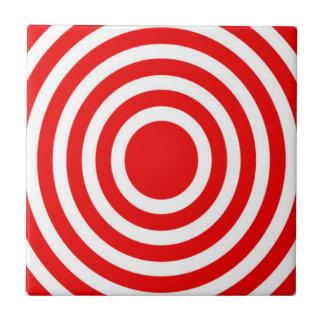 Red and White Bulls-Eye Tile