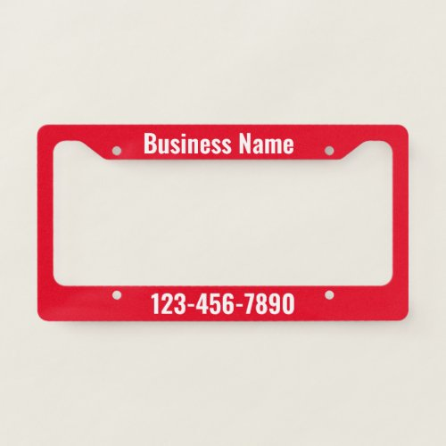 Red and White Business Template License Plate Frame
