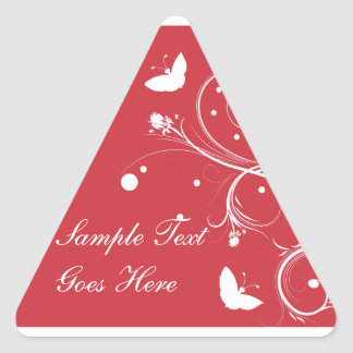Red and White Butterflies and Flowers Triangle Sticker