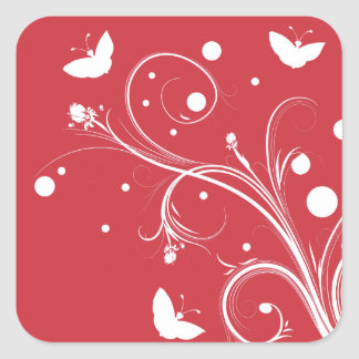 Red and White Butterflies and Flowers Square Stickers