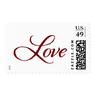 Red and White Calligraphic Love Postage