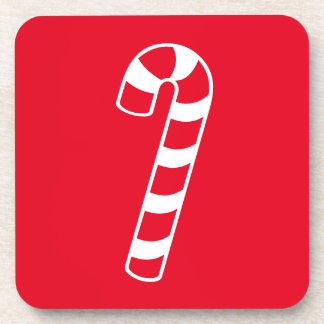 Red And White Candy Cane Beverage Coaster