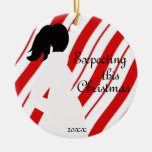 Red and White Candy Cane Pregnancy Ornament