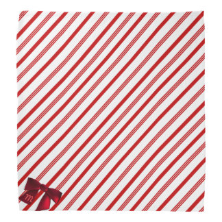 Red and White Candy Cane Stripe Christmas Bandana