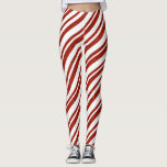 """Red and White Candy Cane Striped Leggings<br><div class=""""desc"""">Wear everywhere leggings done in a red glittery and white candy cane diagonal stripe pattern.  Customize to add text to this fun pair of leggings.  Great for the holidays,  exercising and running around town.</div>"""