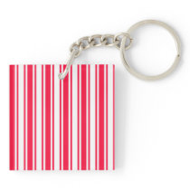 Red and white candy stripes keychain
