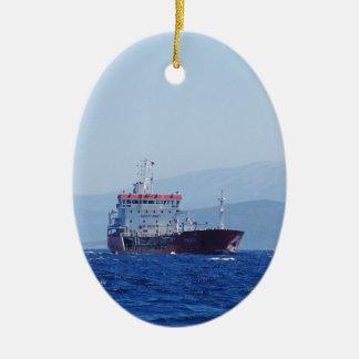 Red And White Cargo Ship Ceramic Ornament