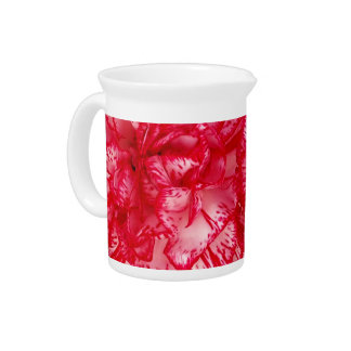 Red and White Carnations-DRINK PITCHER