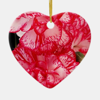 Red and White Carnations-HEART ORNAMENT