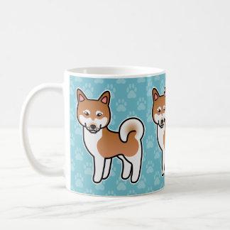 Red And White Cartoon Alaskan Klee Kai Classic White Coffee Mug