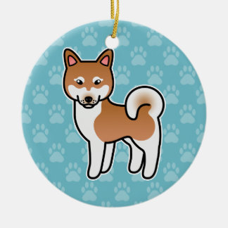 Red And White Cartoon Alaskan Klee Kai Double-Sided Ceramic Round Christmas Ornament