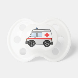 Red and White Cartoon Ambulance Pacifier