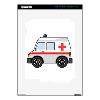 Red and White Cartoon Ambulance Decal For iPad 3