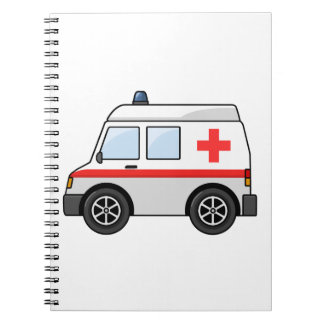 Red and White Cartoon Ambulance Spiral Notebook
