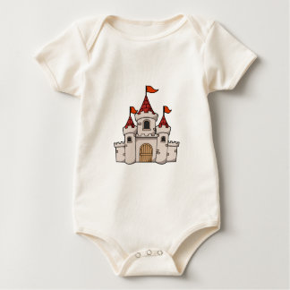 Red and White Cartoon Medieval Castle with Flags Baby Bodysuit