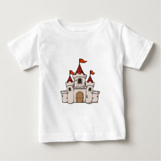 Red and White Cartoon Medieval Castle with Flags Baby T-Shirt