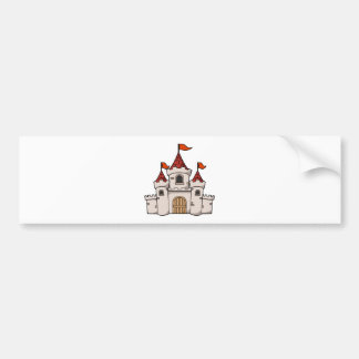 Red and White Cartoon Medieval Castle with Flags Car Bumper Sticker