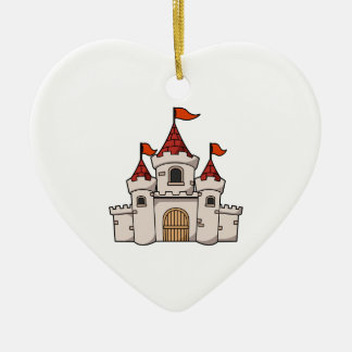 Red and White Cartoon Medieval Castle with Flags Ceramic Ornament
