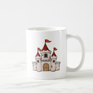 Red and White Cartoon Medieval Castle with Flags Coffee Mug