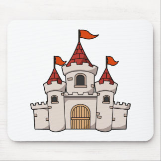 Red and White Cartoon Medieval Castle with Flags Mouse Pad