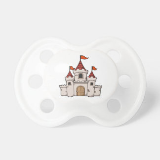 Red and White Cartoon Medieval Castle with Flags Baby Pacifiers