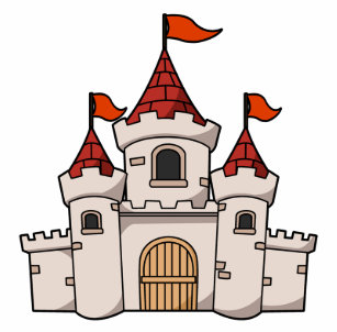 red and white cartoon medieval castle with flags stainless steel water bottle