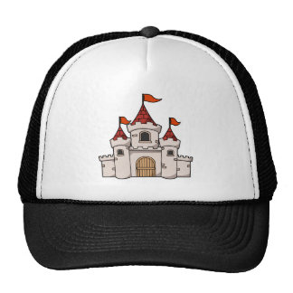 Red and White Cartoon Medieval Castle with Flags Trucker Hat