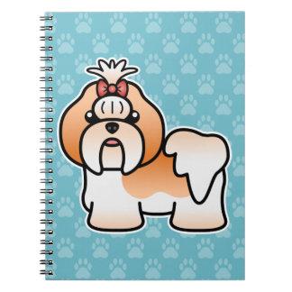 Red And White Cartoon Shih Tzu Note Books