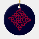 Red and white Celtic Knot Yule Ornament